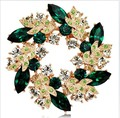 Fashion Gold Plated Emeral Green Rhinestone Crystal Diamante Wrealth Party Brooch
