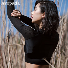 Ayopanda Women Long Sleeve Thumb Hole Yoga Top Black Round Neck Cropped Sweatshirt Hollow Out Sports Jerseys Gym Clothes