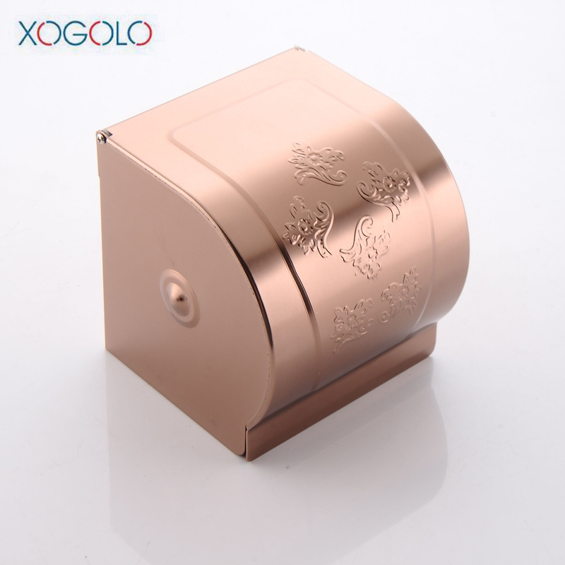 Xogolo Wholesale And Retail Space Aluminum Tissue Box Rose Gold Color Wall Mounted Paper Towel Holder Bathroom Accessories
