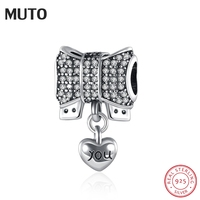 MUTO Christmas Style Authentic 925 Sterling Silver Knot Heart Charm Fit Original Bracelet Necklace DIY Accessories