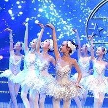 Гимнастическое трико для балета и танцев; платье для девочек; костюм белого Лебединого озера; платье балерины; детское балетное платье; балетная пачка