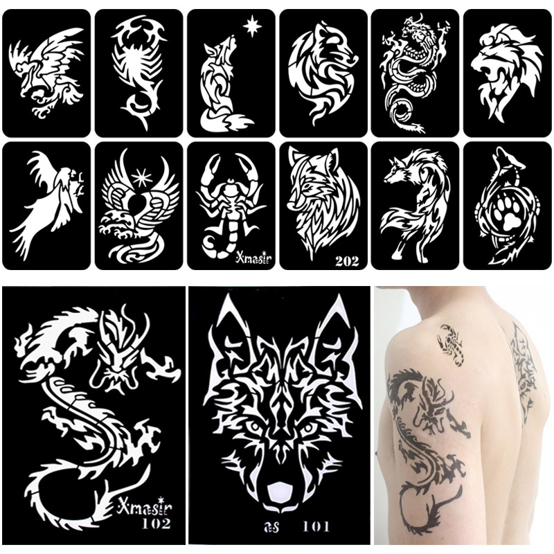 34pcs/Lot Men Dragon Tattoo Stencils Painting Template Arm Back Chest Airbrush Glitter Tattoo Sticker Reusable 2 Large+32 Small
