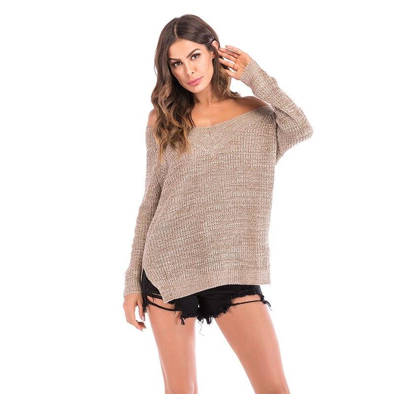 Chandail 10 épaule Et Européen À Pcs la Hors Femmes Sexy Longues lot Mode 2018 Kaki De Manches Américain Automne Vêtements wrYRFq1r
