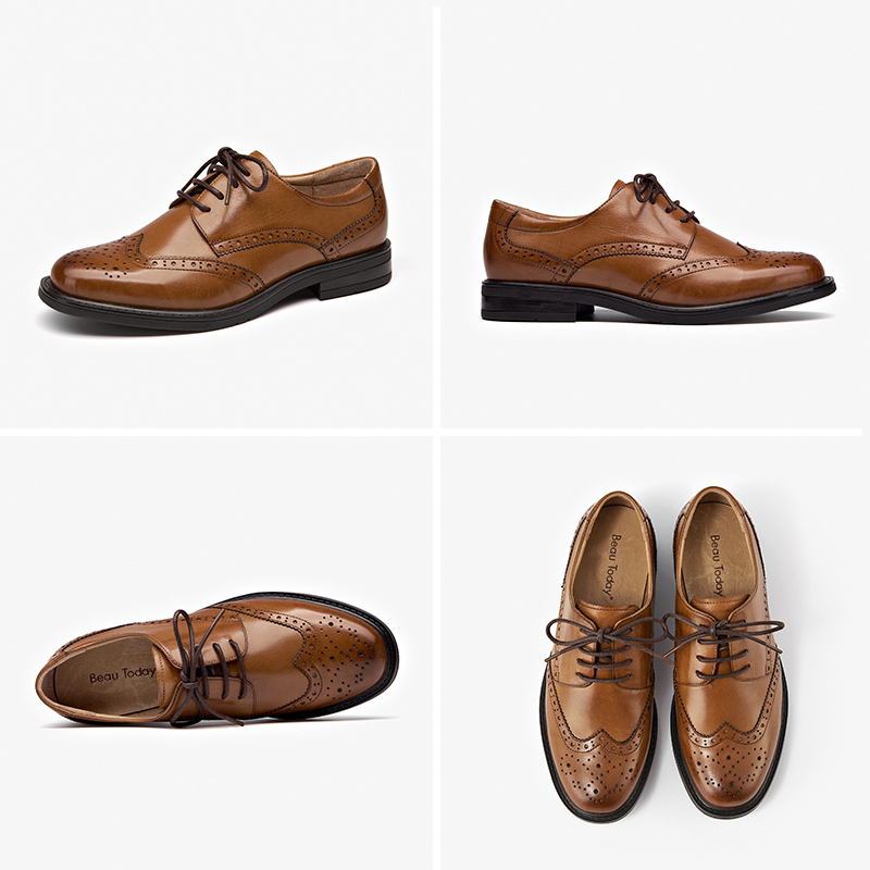 BeauToday Brogue Shoes Women Oxfords Lace Up Genuine Cow Leather Handmade Wingtip Round Toe Flat Female Dress Shoes 2108626 - 6