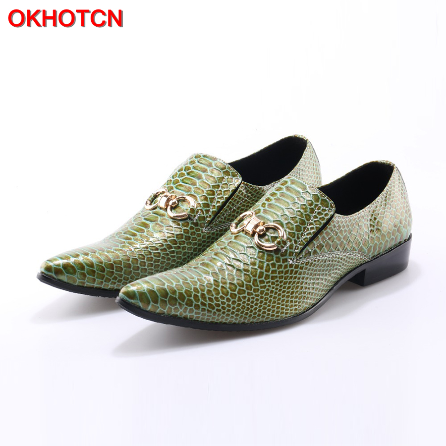 OKHOTCN New Imitate Snake Leather Men Oxford Shoes Casual Business Men Pointed Shoes Brand Men Wedding Men Dress Boat Shoes branded men s penny loafes casual men s full grain leather emboss crocodile boat shoes slip on breathable moccasin driving shoes