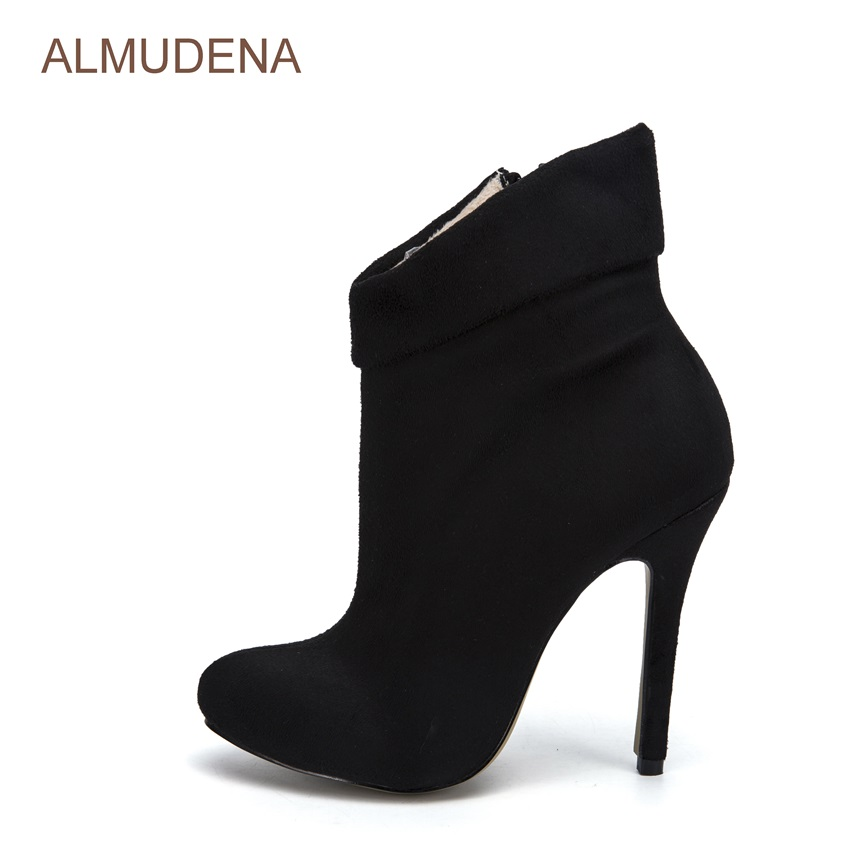 ALMUDENA Black Suede Ankle Boots Folded Design Short Boots Winter Fur Inside Warm Boots Thin High Heel Mototcycle Sexy Shoes top brand unique design black suede boots back front lace up fastening dress boots trendy ladies footwear thin high heel shoes