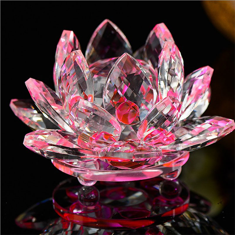 Quartz 80 mm Crystal Lotus Flower Crafts Glass Ornament 9