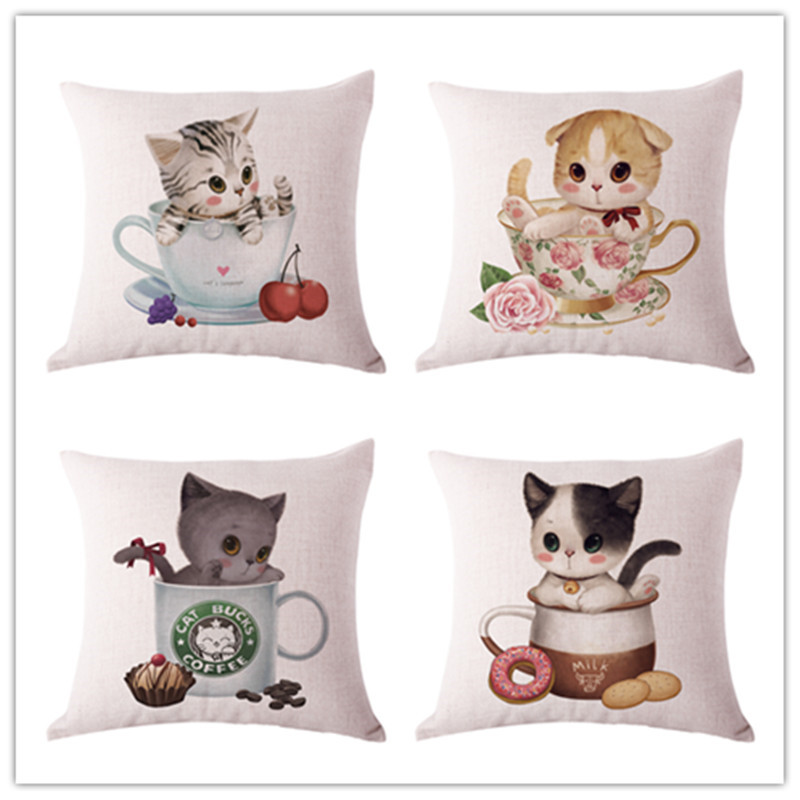 Modern Home Decorative throw pillows animals cat cup linen cushion cover for sofa home decor almofadas 45x45cm funda cojines
