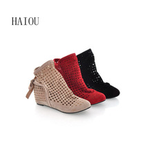 Cutout Female Boots Elevator Lady's Fashion Boots Women's Spring and Summer Hollow Boots Breathable Bootie Female Knitted 34-43