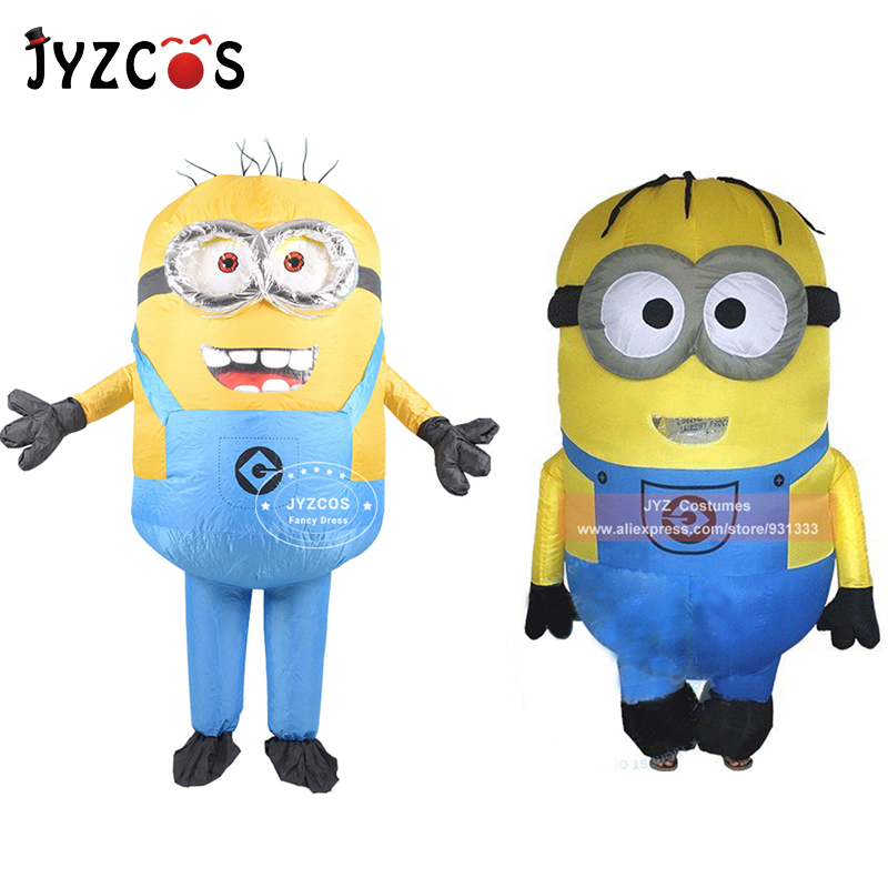 JYZCOS Adult Minion Inflatable Costume Halloween Party Costume Double Single Eyes Minion Mascot Costume Carnival Purim