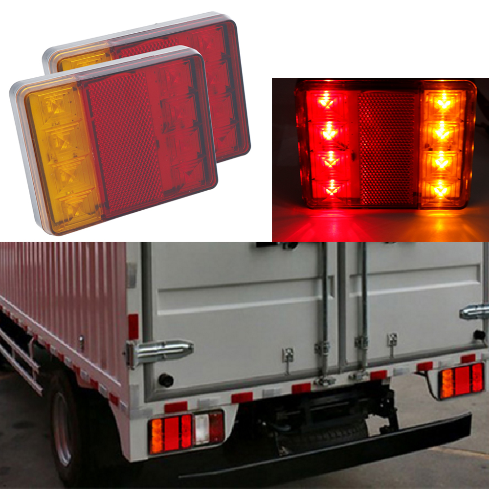 Partol 2pcs 19 Leds Car Led Rear Tail Lights Stop Brake Running Light Side Marker For Truck Trailer Vehicles 12v 24v Red Yellow Truck Parts Automobiles & Motorcycles