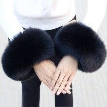 Puños de piel de zorro Real para mujer, brazalete de piel de mapache negro a la moda, pulsera para mujer, calentador de brazo 2019