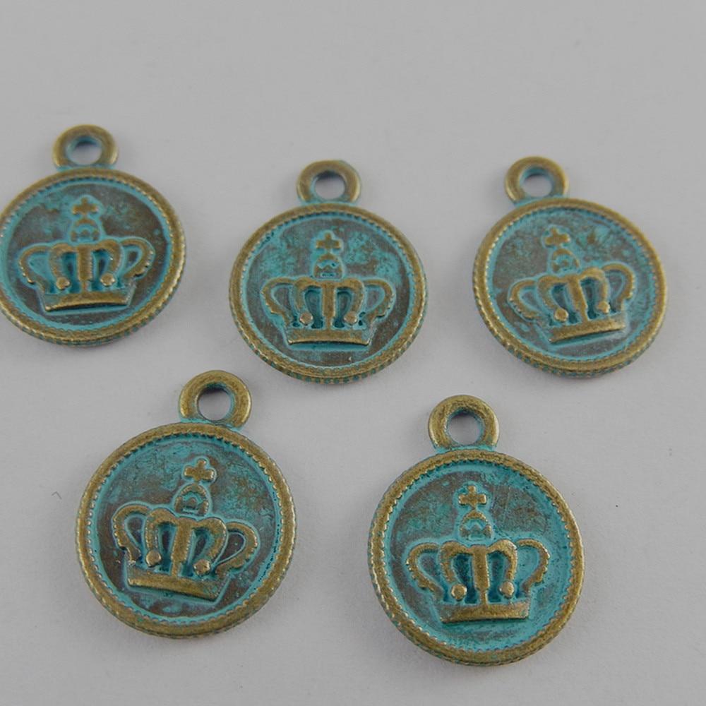 7e9f3bdb8d989 20 pcs/lot Antique bronze Alliage Face couronne Charmes Pendentif Bijoux De  Mode Trouvant fine Fabrication de Bijoux pour le collier 18*14*1mm