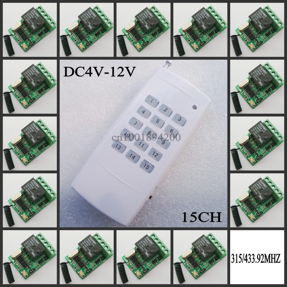 ФОТО DC 4V 5V 6V 7.4V 9V 12V Mini Relay Remote Control Switch NO COM NC Contact RF 15 pcs Receiver Transmitter Wireless RX TX 315433