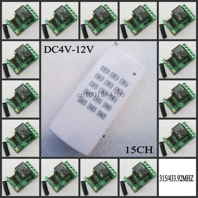 DC 4V 5V 6V 7.4V 9V 12V Mini Relay Remote Control Switch NO COM NC Contact RF 15 pcs Receiver Transmitter Wireless RX TX 315433