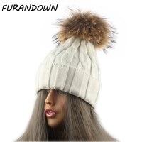 כובעי החורף של נשים צמר רך סרוג כפת skullies וימס Pompom מינק כובע פרווה כובע פרווה רוסי