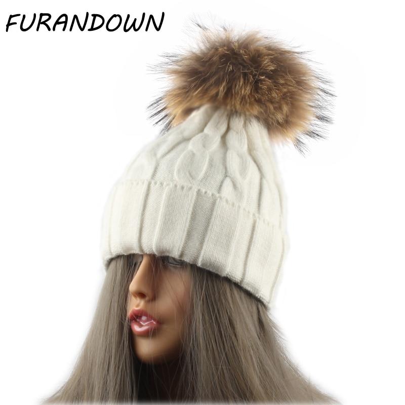 Women's Winter Hats Soft Wool Knitted Beanie Hat Mink Fur Hat Russian Fur Cap Pompom Beanies skullies women s winter beanie hat wool knitted cap shining rhinestone beanie mink fur pompom hats for women