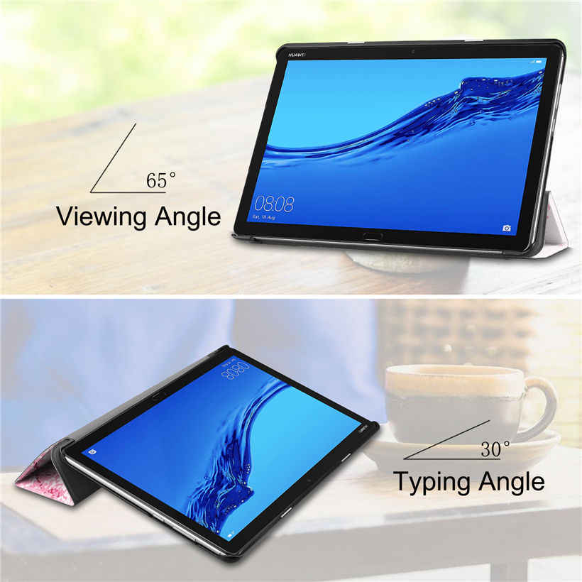 """Case For Huawei MediaPad M5 Lite 10 BAH2-W09 BAH2-L09 BAH2-W19 10.1"""" Cover Funda Tablet PU Leather Stand Skin Shell +Stylus+film"""