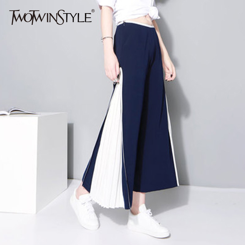TWOTWINSTYLE Patchwork   Wide     Leg     Pants   Female Chiffon High Waist Split Pleated Long Trousers Summer Fashion Women New Clothing