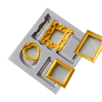 Beautiful Vintage Heart Square Rectangle Frame Shape 3D Silicone Cake Mold For Cake Decorating