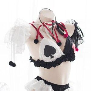 Image 5 - Clowns Poker Underwear Cute Lolita Anime Bra Girl Underwear Devil Cosplay Costumes Sexy Bandage Lingerie Set Halloween Costumes