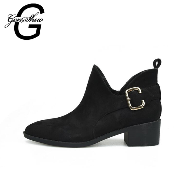 GENSHUO Women Ankle Boots Winter Shoes Round Toe Buckle Strap Short Plush Boots Women Black Ankle Boots Warm Shoes Square Heel