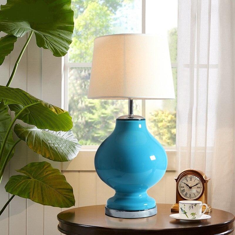 American Table Lamps simplicity retro living room study bedroom bedside glass base adjustable light creative LU818373