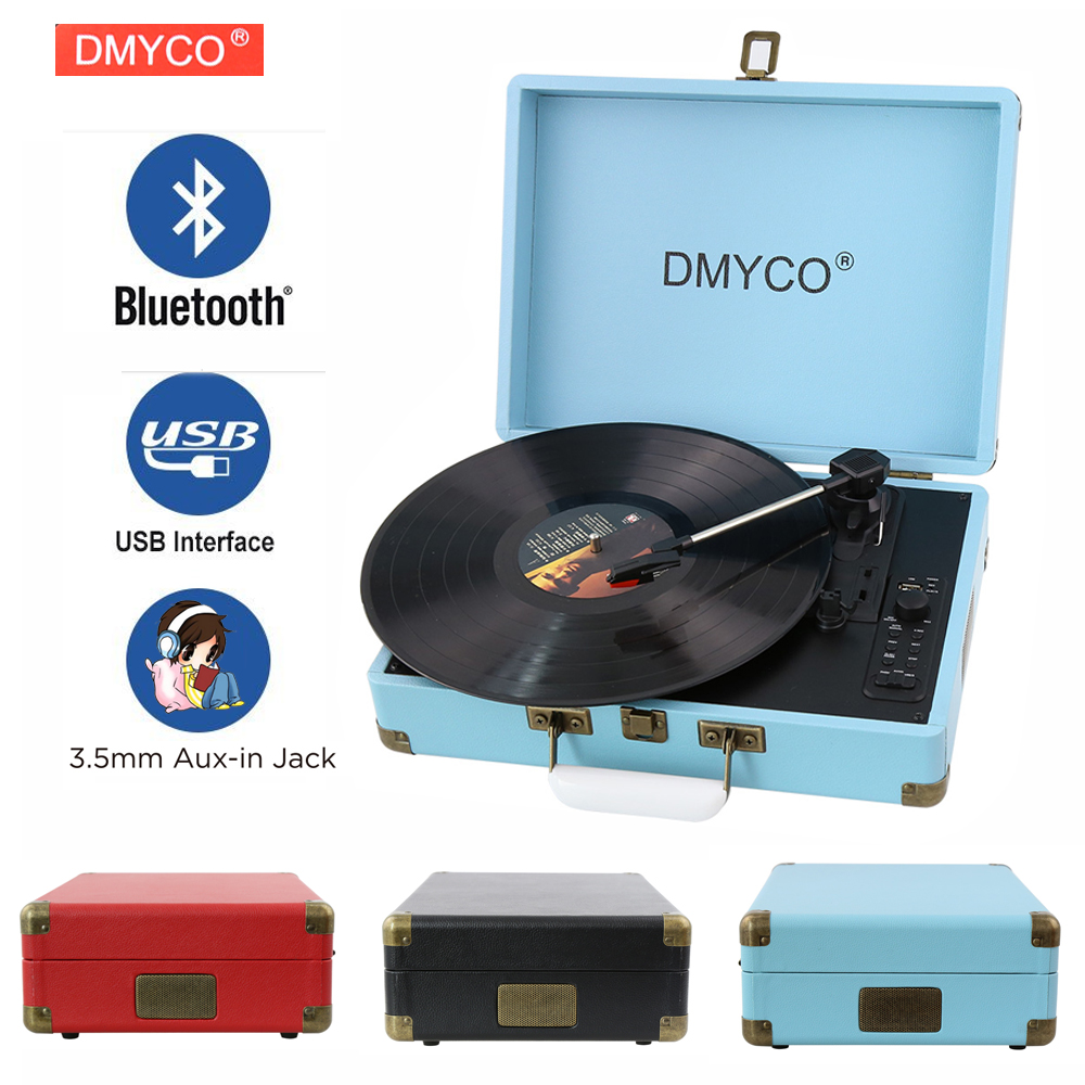 DMYCO Bluetooth 3-Speed Portable Stereo Turntable with Built in Speakers, USB Vinyl-To-MP3 Record Player, Support RCA outpout