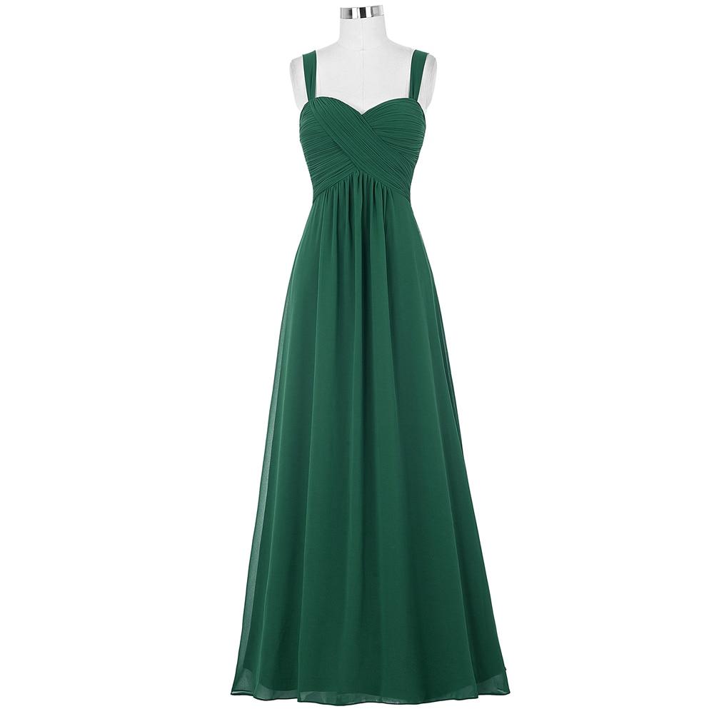 Kate Kasin Mujeres Vestidos de Largo Vestido de Gasa Verde Esmeralda 2017 Longue