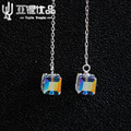 925 Silver top technology female models wild earrings glittering fantasy Cube becomes the focus factory wholesale direct