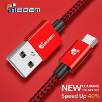 Nylon Micro USB Cable TIEGEM 3A Fast Charging USB Sync Data Mobile Phone Android Adapter Charger Cable for Samsung Sony HTC LG