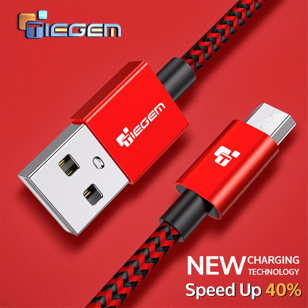 Nylon Micro USB Cable TIEGEM 3A Fast Charging USB Sync Data s