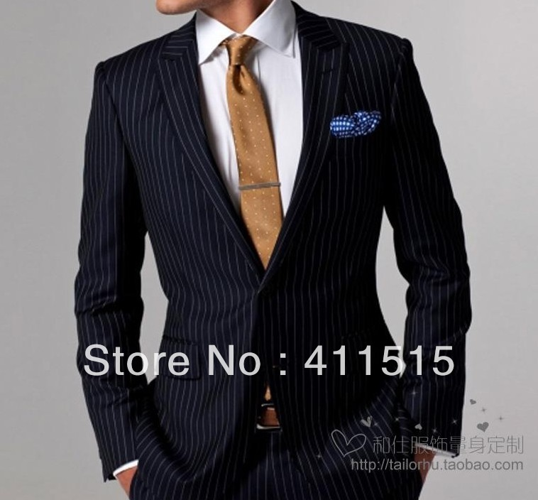 Free Shipping /top Italian Imported Woolens Fabrics Male Suit Customize Suits  Wide Stripe Wedding Groom Wear Dress/man Tuxedos