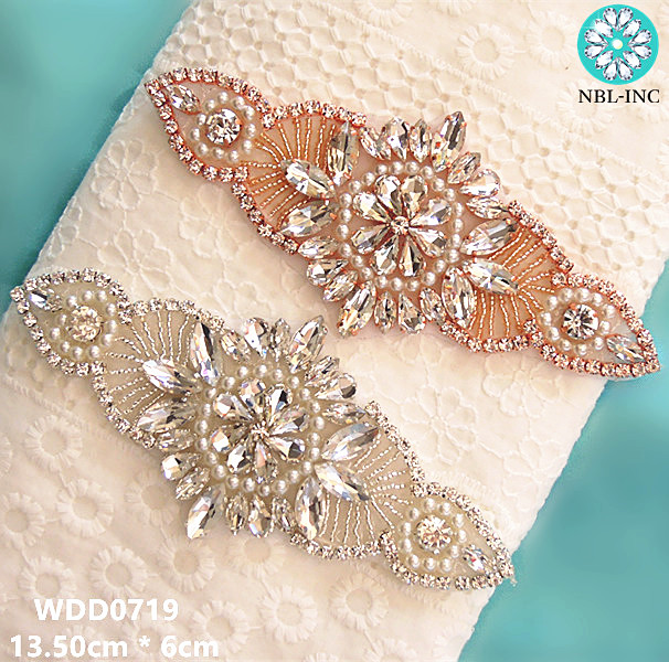 (30PCS)Wholesale hand beaded sewing bridal rose gold crystal rhinestone  applique iron on for wedding dresses DIY sash WDD0719-in Rhinestones from  Home ... 41f8d99be5ac