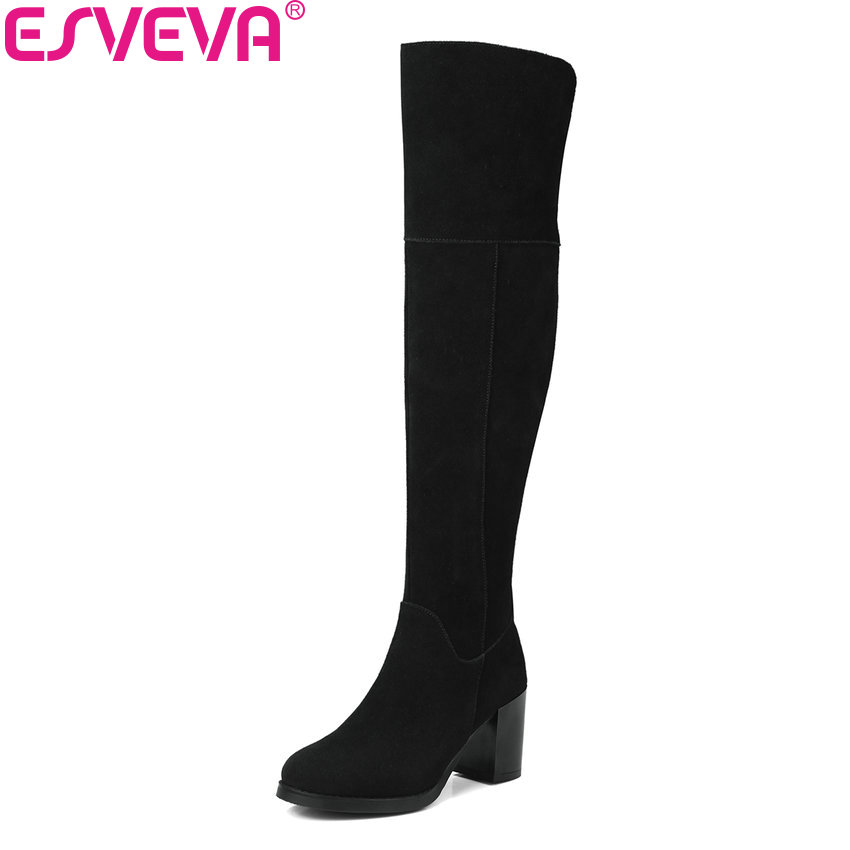 ESVEVA 2018 Women Boots Slim Look Cow Suede Square High Heel Round Toe Over The Knee Boots Fashion Black Ladies Boots Size 34-39 esveva 2018 women boots lining short plush chunky square high heel ankle boots slim look pointed toe ladies boots size 34 43
