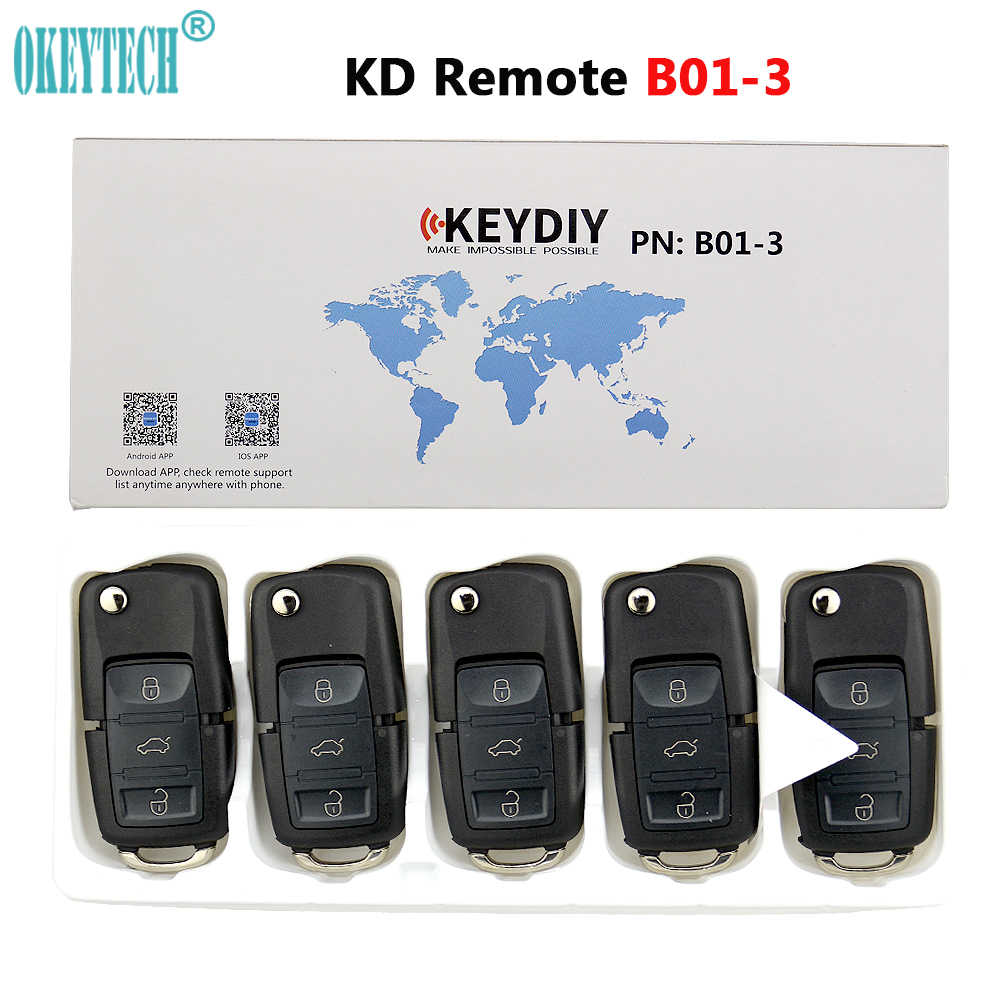 OkeyTech 5PCS B01 3 Buttons Universal KD Remote Control Key B-Series For Keydiy KD900 KD900+ KD200 URG200 Mini KD Remote Control