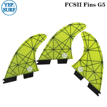 FCSII G5 M Size Surfboard Yellow color Honeycomb Fins Tri fin set FCS 2 Fin Hot Sell FCS II Fin Quilhas fcsii g5 m size surf fins surfboard orange honeycomb fins fcs 2 carbon firbe fin new design fcs ii quilhas