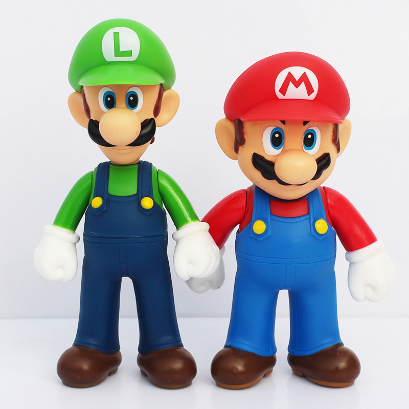 13cm High Quality PVC Super Mario Bros Luigi Action Figures Youshi Mario Gift Toy