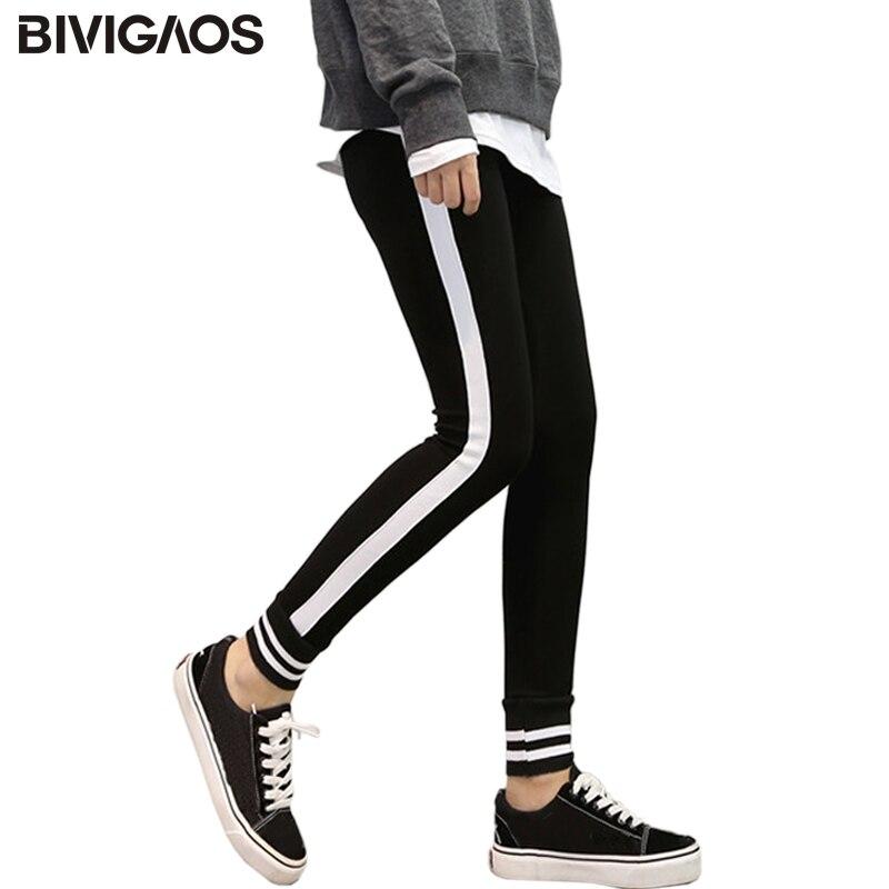 BIVIGAOS 2017 Autumn New Korean Womens Side White Vertical Striped Leggings Cotton Legging Pants Blackc Gothic Workout Leggings