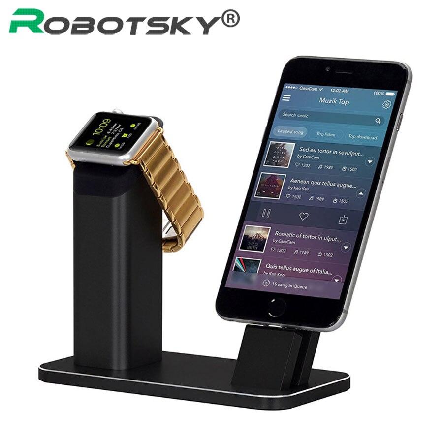 Robotsky support chargeur pour Apple iWatch pour iPhone 7 6 6 s 5 5 s 2 en 1 support pour téléphone support berceau en aluminium Station de chargement