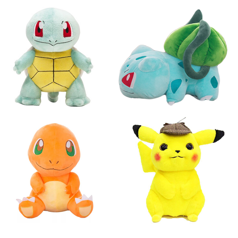 Big Size Pikachu Charmander Bulbasaur Squirtle Plush Toys Cartoon Movie Dolls Anime Toys For Kid Baby Toddler Birthday Gifts