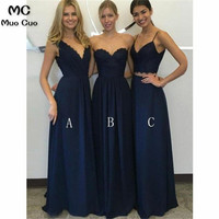 2018 Navy Blue Bridesmaid Dress with ABC Design Tank Wedding Party Dress Chiffon Custom Made Women Bridesmaid Dresses
