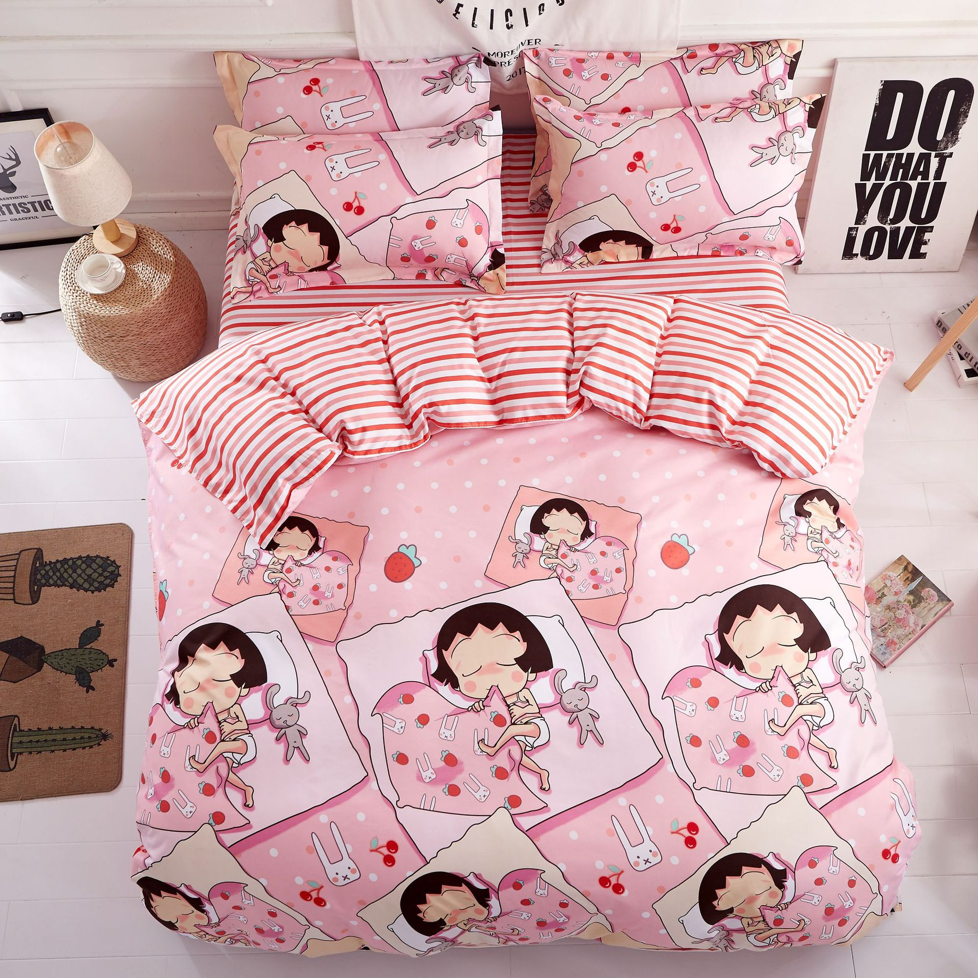 pillowcase King Queen Full Twin Bedding Set Bedding Set 3/4pcs Attractive And Durable Considerate Best Luxury Pink Cute Cartoon Duvet Cover Flat Bed Sheets Bedding