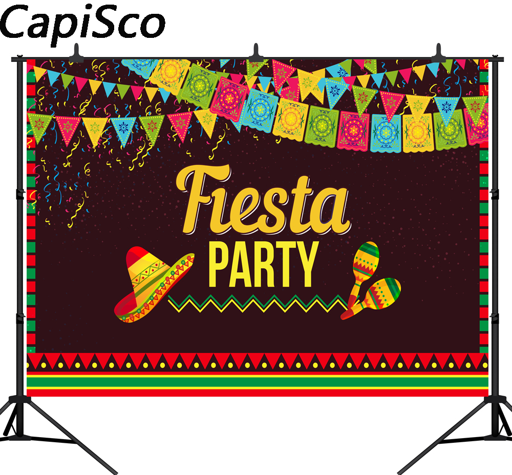 Capisco photography backdrop Mexico Fiesta carnival party celebration mexican background photobooth photocall custom printed