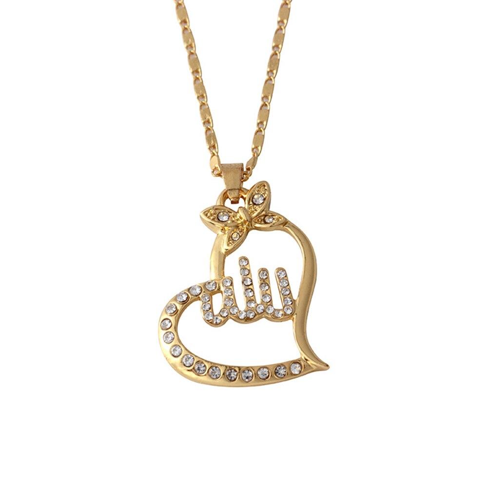 Fashion Women Golden Rose Gold Heart Religious Islamic Muslim Arabic Allah  Pendant Rhinestone Necklace Jewelry Party Club Gift-in Pendant Necklaces  from ... da57ec75e3a3