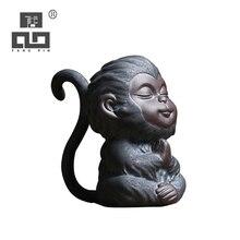 TANGPIN ceramic tea pets monkey cute porcelain teapets kung fu tea accessories tangpin purple clay tea pets monkey cute zisha teapets kung fu tea accessories