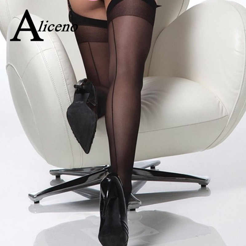 Artı boyutu 15D seksi Seamed çorap arka dikiş ile şeffaf ipek Stocking uyluk yüksek naylon kadın çorapları Medias De Mujer