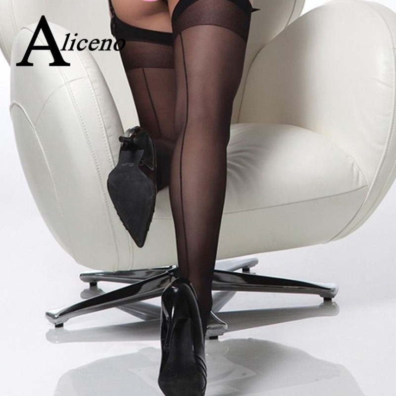 Plus Size 15D Sexy Seamed Stockings With Back Seam Transparent Silk Stocking Thigh High Nylon Women Stockings Medias De Mujer