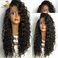 Высокая Плотность Фронта Шнурка Полные парики Шнурка Человеческих Волос Парики Малайзии Вьющиеся Фронта Шнурка Человеческих Волос Парики Черные Женщины