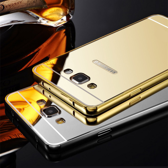 Luxury Metal + Mirror Acrylic Case For Samsung Galaxy Grand Prime G530 G530W Mobile Phone Cover Protective Back Cases